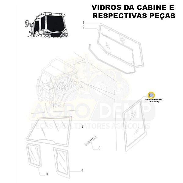 VIDRO DA CABINE LATERAL (LADO DIREITO) - NEW HOLLAND TL60E / TL75E / TL85E / TL95E / TM135 / TM150 / TM165 / TM180 / TM7010 / TM7020 / TM7030 / TM7040 / TS6000 / TS6020 / TS6030 E TS6040 - 87314706