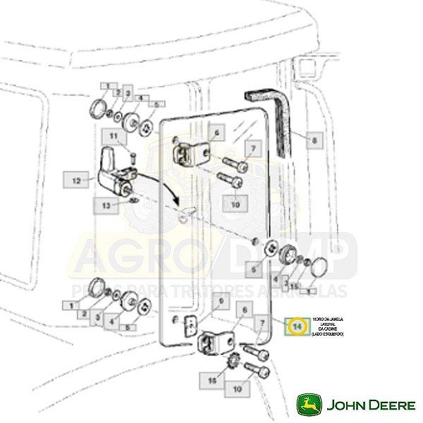 VIDRO DA JANELA LATERAL (LADO ESQUERDO) - JOHN DEERE 6415 / 6615 E 7515 - L170547