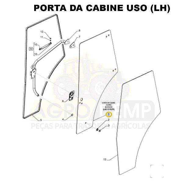 VIDRO PORTA DA CABINE (LADO DIREITO) - NEW HOLLAND TL5.80 / TL5.90 / TL.100 /  TL60E / TL75E / TL85E / TL95E - 87620223