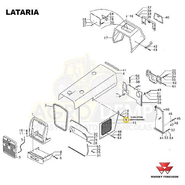 CHAPA LATERAL (LADO ESQUERDO) - MASSEY FERGUSON 265ADV / 265 / 275ADV / 283ADV E 290ADV - 065736
