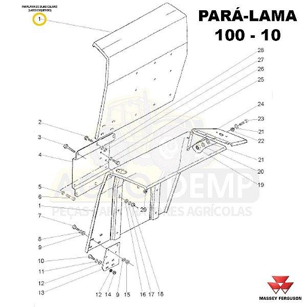 PARALAMA DE DUAS CALHAS (LADO ESQUERDO) - MASSEY FERGUSON 250ADV / 250 / 265ADV / 265 / 275ADV / 275 / 283ADV / 283 / 290ADV / 290 / 292ADV / 292 / 297ADV / 297 / 298ADV / 298 / 299ADV E 299 - 022888