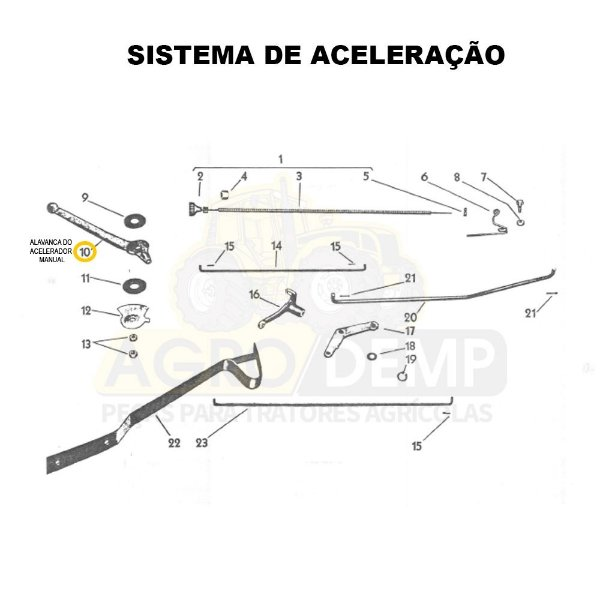 ALAVANCA DO ACELERADOR MANUAL - VALMET 60ID - 588140