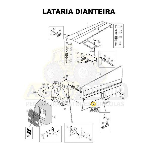 CHAPA INFERIOR DIANTEIRO (LADO DIREITO) - VALTRA 885 E 985 - 81605300