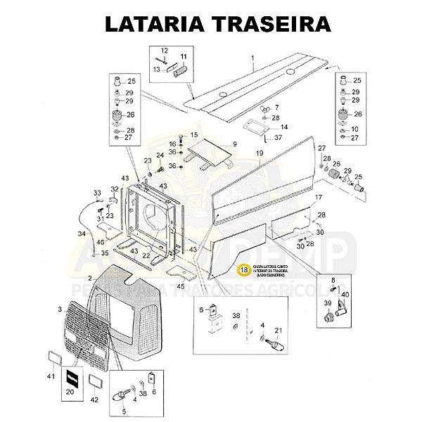 CHAPA LATERAL CANTO INFERIOR DA TRASEIRA (LADO ESQUERDO) - VALTRA BM110 GERAÇÃO 1 - 81896400