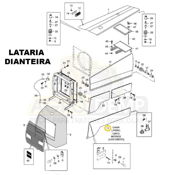 CHAPA LATERAL CANTO INFERIOR (LADO DIREITO) 4X2 - VALTRA 885 - 80321511