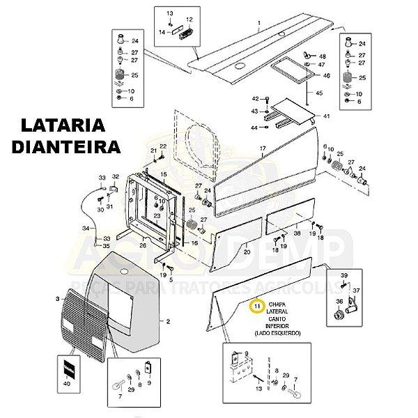 CHAPA LATERAL CANTO INFERIOR (LADO ESQUERDO) - VALTRA 885 - 80321711