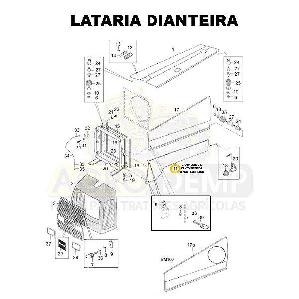 CHAPA LATERAL CANTO INFERIOR (LADO ESQUERDO) - VALTRA BM85 E BM100 GERAÇÃO 1 - 81895400