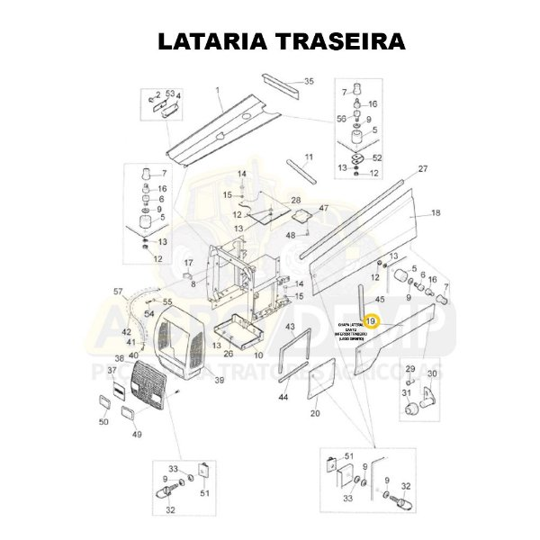 CHAPA LATERAL CANTO INFERIOR TRASEIRO (LADO DIREITO) - VALTRA BH140 / BH160 / BH180 / 1280R / 1580 E 1780 GERAÇÃO 1 - 81669310