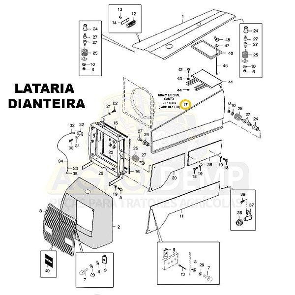 CHAPA LATERAL CANTO SUPERIOR (LADO DIREITO) 4X4 - VALTRA 885 - 80021110