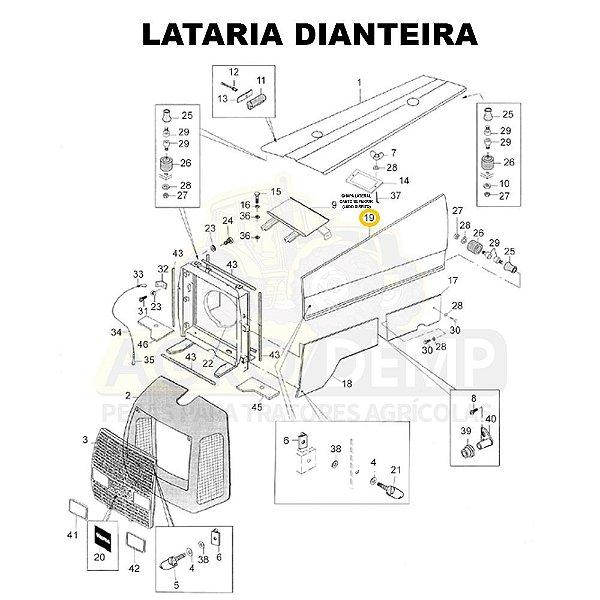 CHAPA LATERAL CANTO SUPERIOR (LADO ESQUERDO) - VALTRA BM110 GERAÇÃO 1 - 81896000