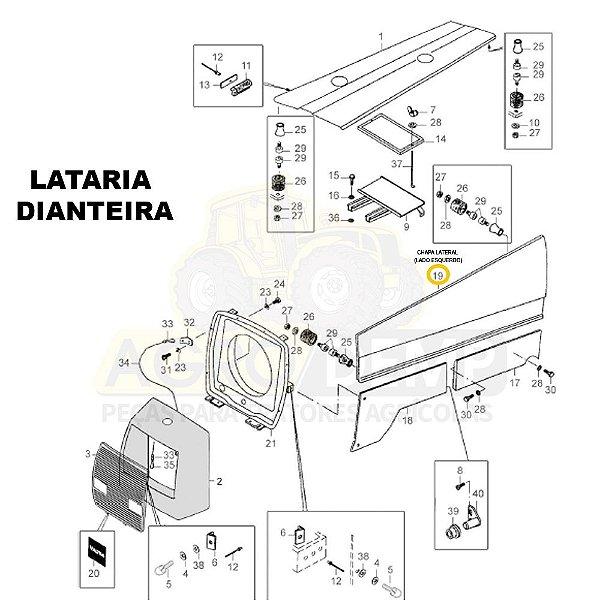 CHAPA LATERAL (LADO ESQUERDO) - VALTRA 985 / 1280R / 1580 E 1780 - 80803200