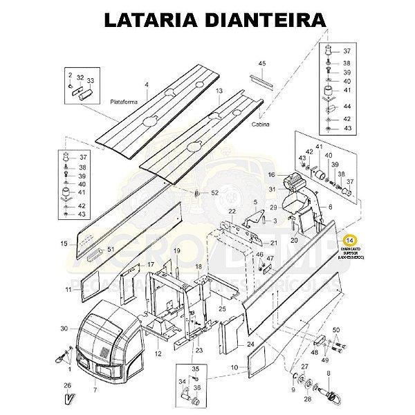 CHAPA CANTO SUPERIOR (LADO ESQUERDO) - VALTRA BH145 / BH165 / BH180 / BH185 / BH205 / 1280R E 1780 (GERAÇÕES 1 E 2) - 85061900