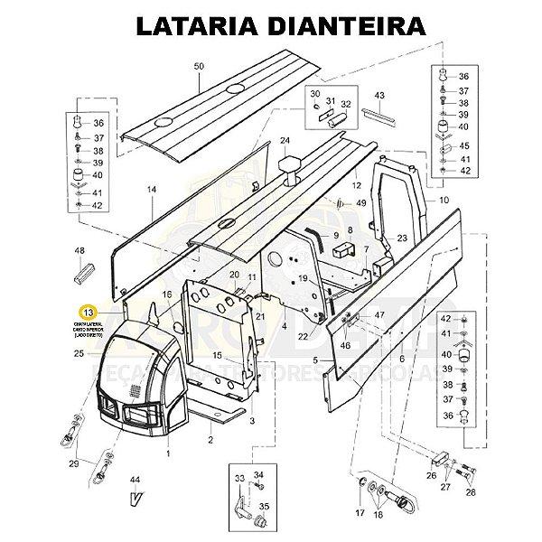 CHAPA LATERAL CANTO INFERIOR (LADO DIREITO) - VALTRA BM110 GERAÇÃO 2 E BM125 GERAÇÃO 1 - 85126900