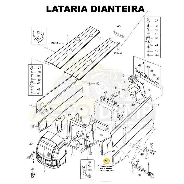 CHAPA LATERAL CANTO INFERIOR (LADO ESQUERDO) - VALTRA BH145 / BH165 / BH180 / BH185 / BH205 / 1280R E 1780 (GERAÇÕES 1 E 2) - 84861400