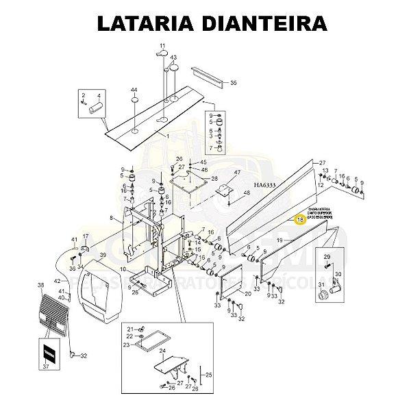 CHAPA LATERAL CANTO SUPERIOR (LADO ESQUERDO) - VALTRA / VALMET 1280 / 1380 / 1580 / 1680 / 1780 E 1880 - 82014010