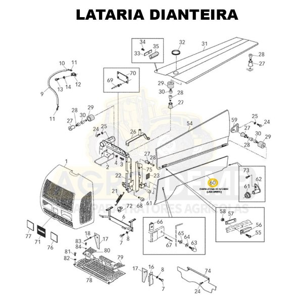CHAPA LATERAL DO INTERIOR (LADO DIREITO) - VALTRA BL88 - 83706910