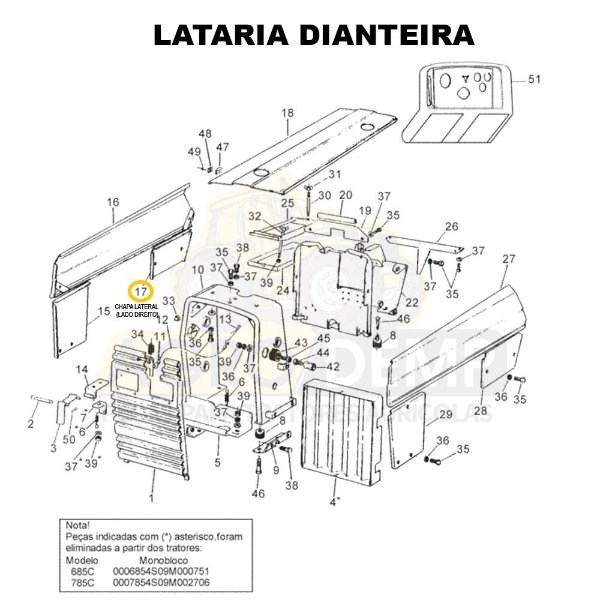 CHAPA LATERAL (LADO DIREITO) - VALTRA 685C / 685F / 785C E 785F - 83126400