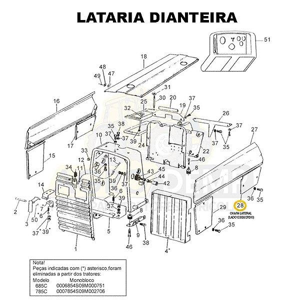 CHAPA LATERAL (LADO ESQUERDO) - VALTRA 685C / 685F / 785C E 785F - 83126600