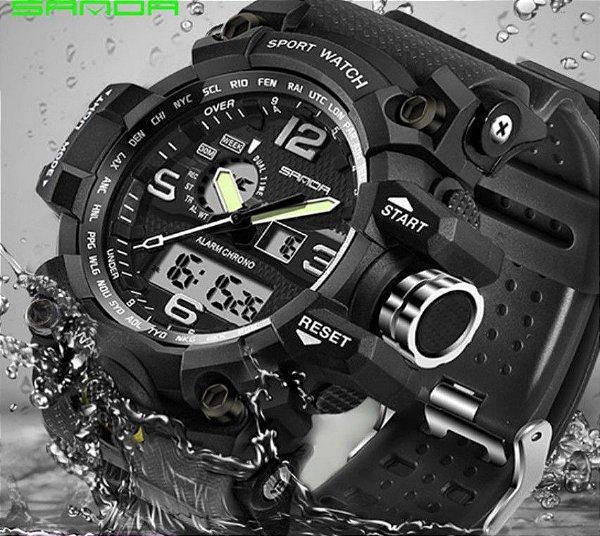 Relógio masculino digital à prova d' água LED  estilo  militar