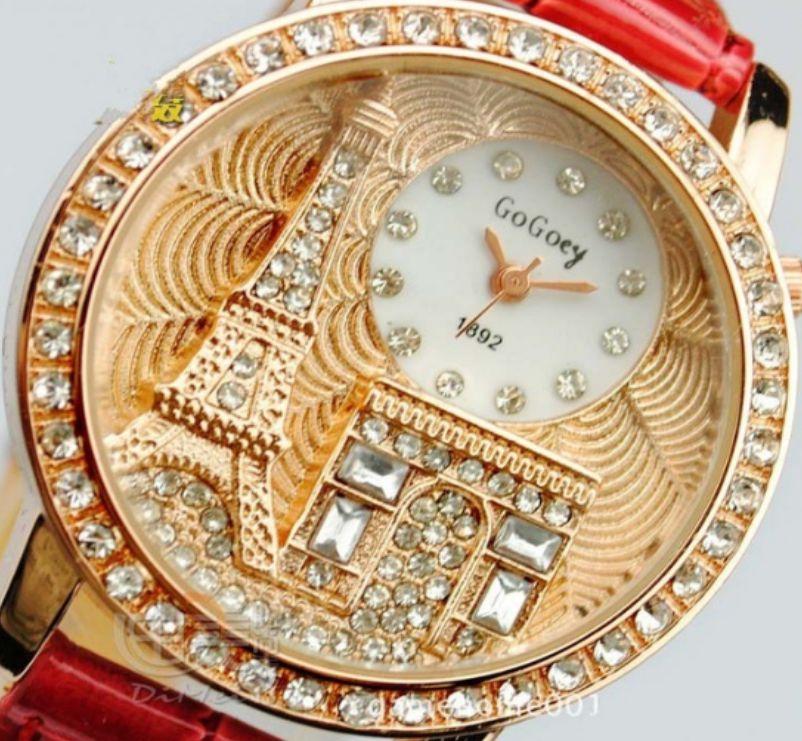 Relógio de Pulso feminino De Couro e cristal