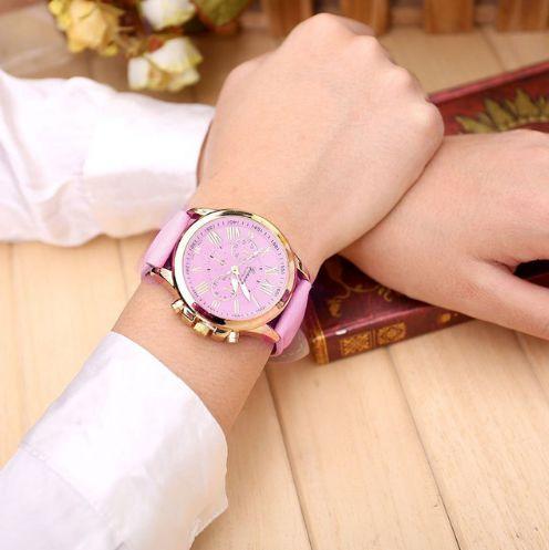 Relógio Numeral Romano para Mulheres  Pulseira de Couro