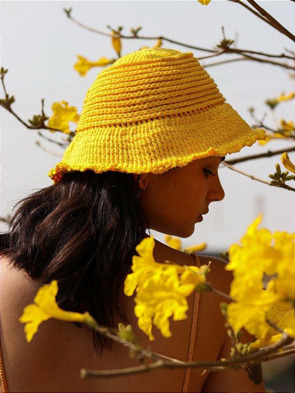 Chapéu de Crochê Solar Amarelo
