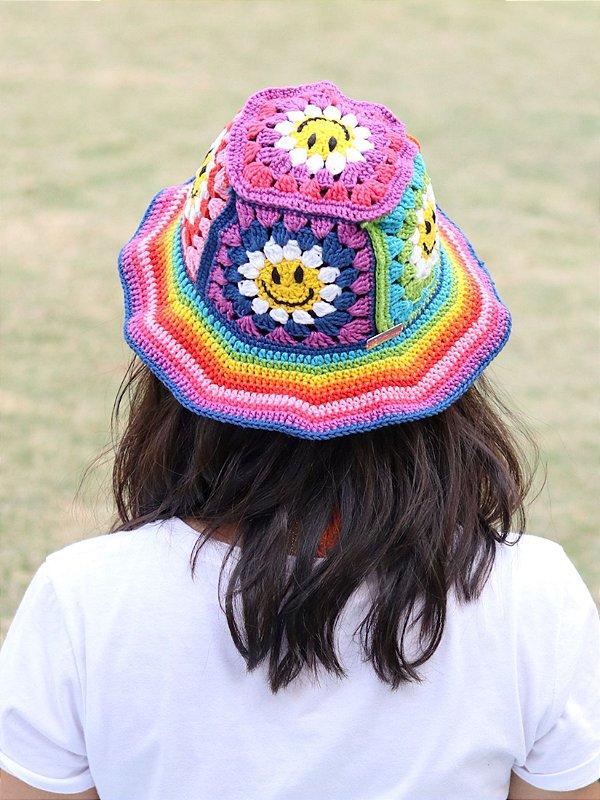 Bucket Hat de Crochê Patch Bem Me Quer