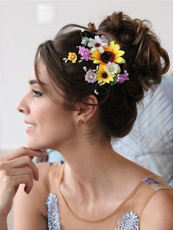 Pente de Cabelo Flores Meu Sol