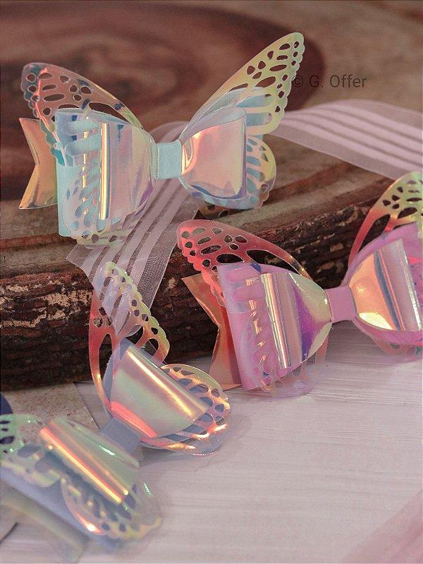 Laço Borboleta Holográfica - Várias Cores