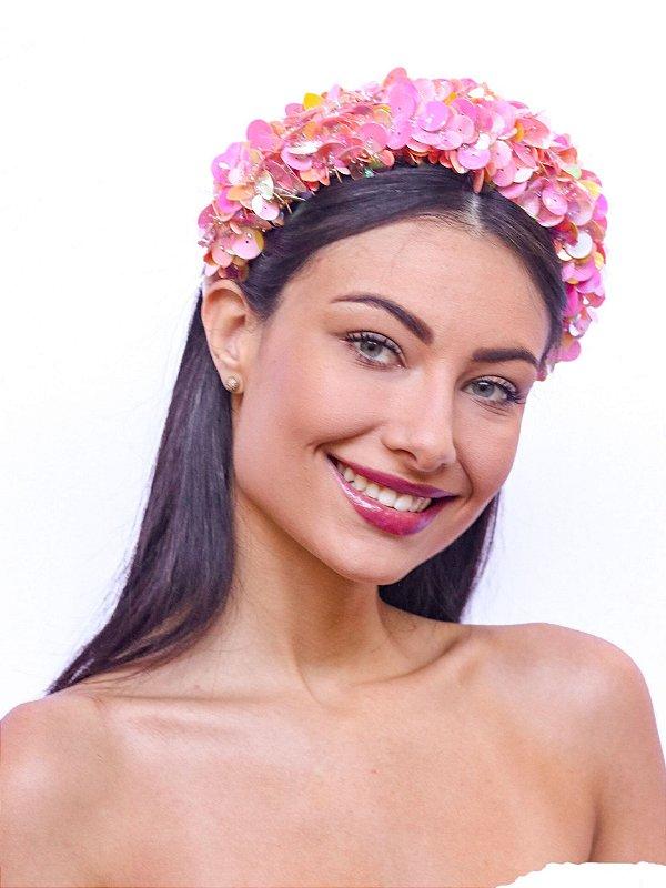 Tiara Alta Bordada Paetês Rosa