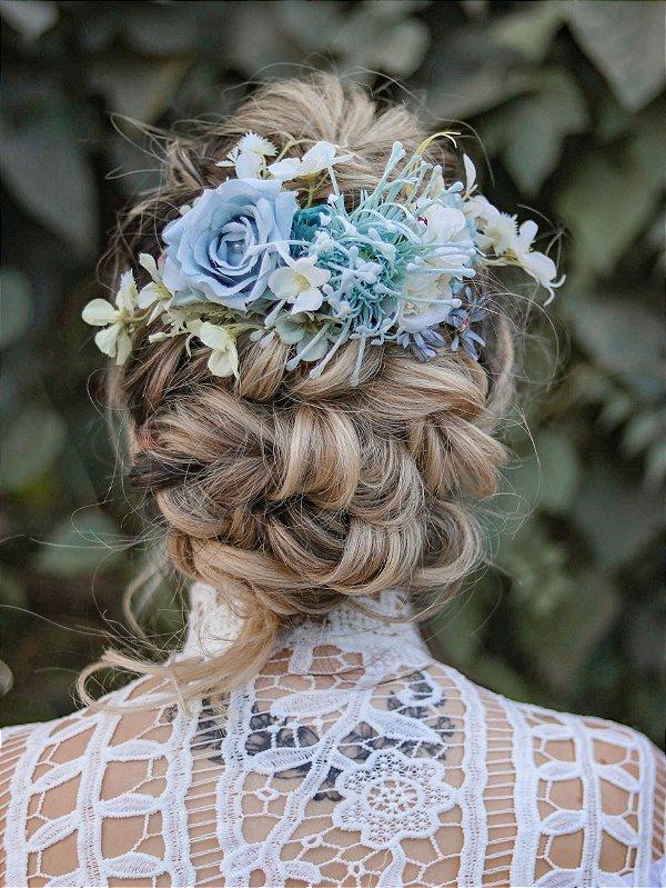Arranjo de Cabelo Flores Botânica Azul