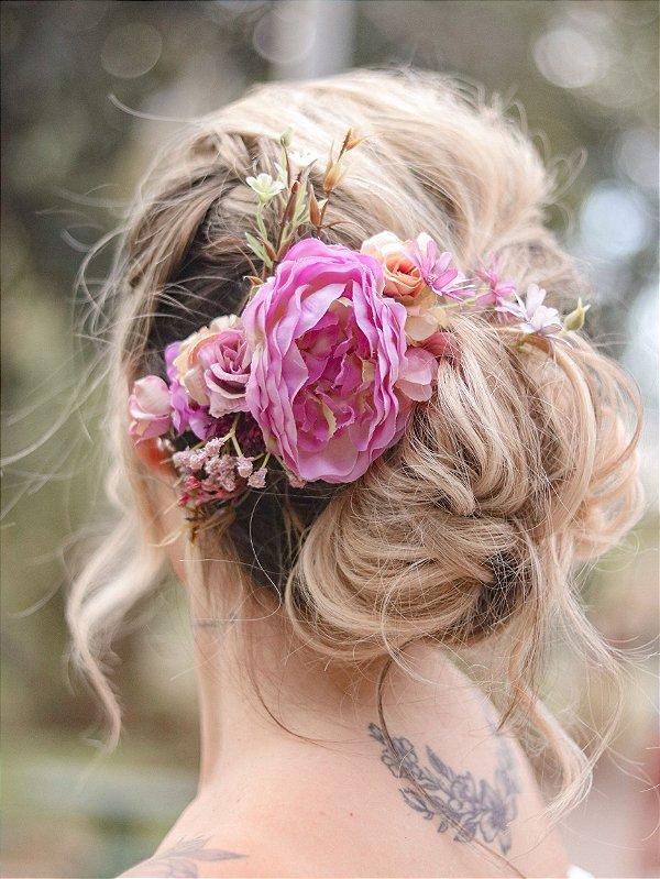 Arranjo de Flores para Cabelo Celeste Jade