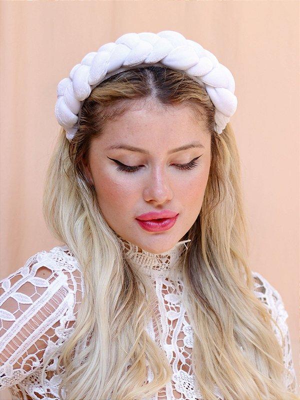 Tiara Julie Trança de Veludo Branca