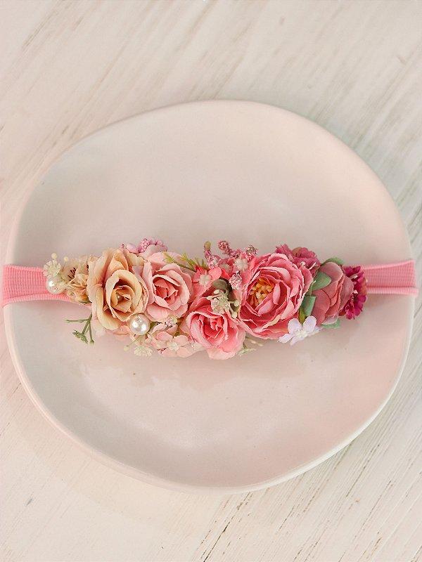 Headband Flores Infantil Degradê