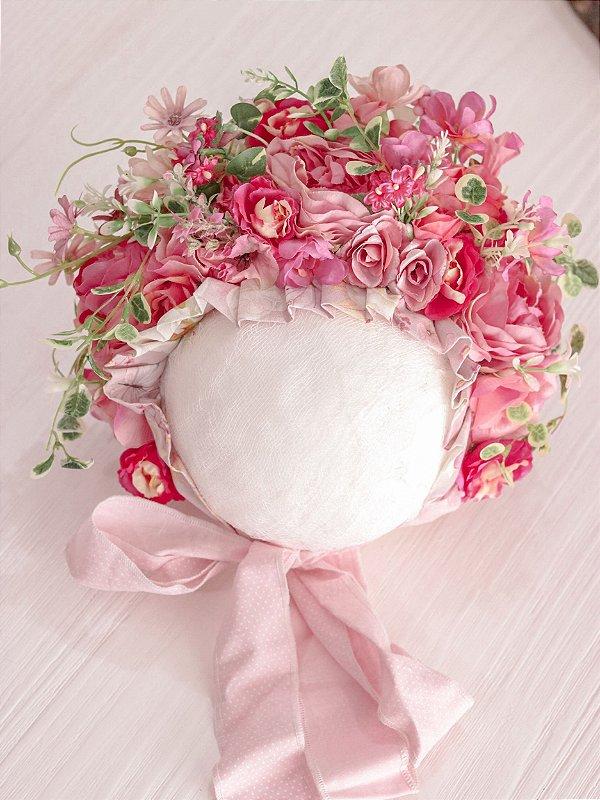 Touca de Flores Rosas
