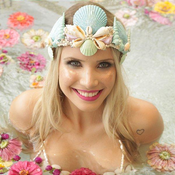 Coroa de Conchas Sereia Aquamarine