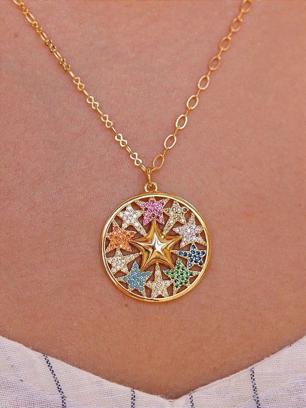 Colar Estrela Cravejada com Micro Zircônias Semijóia Estelar