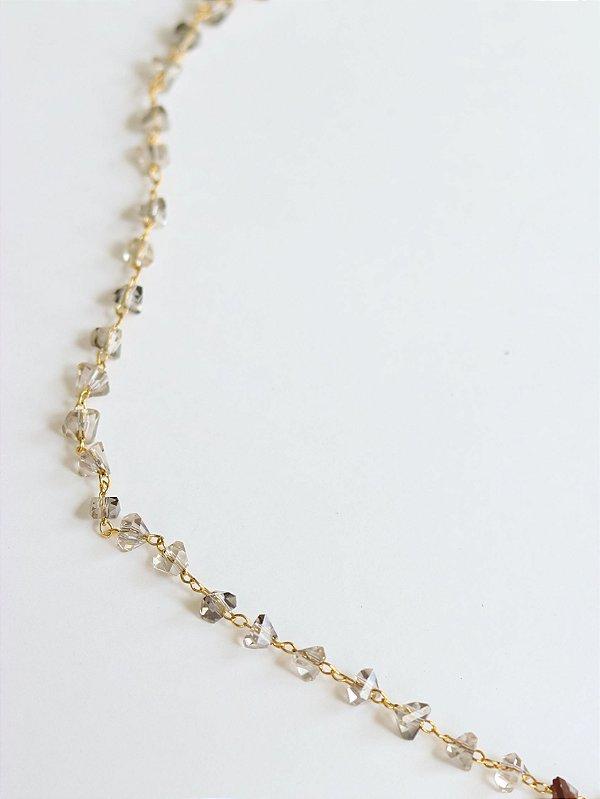 Choker midi cristais Banhado Ouro Crystal
