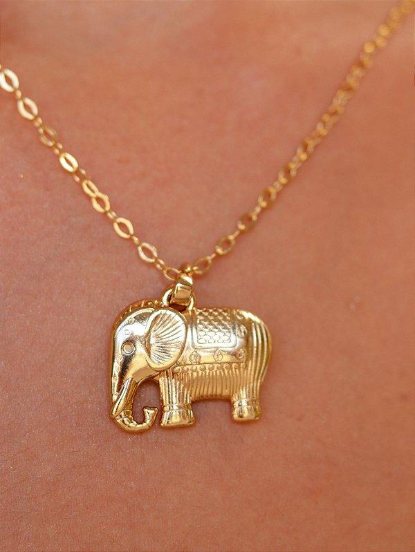 Colar Elefante Banhado Ouro 18k Savana