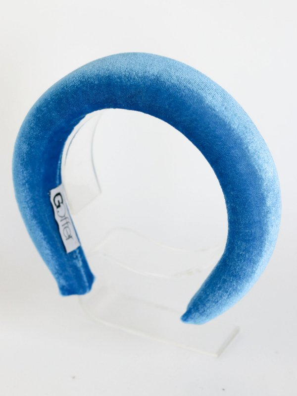 Tiara Alta Veludo Ophelia Azul Turquesa