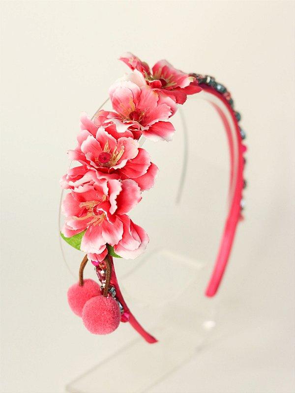 Tiara Infantil Flores cerejeira