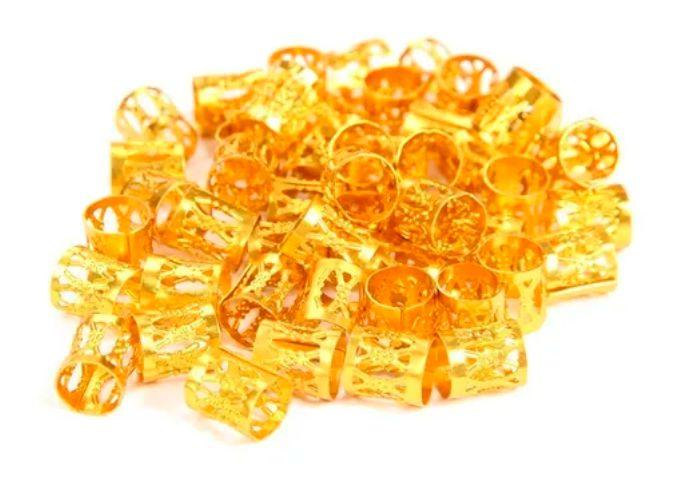 10 Unidades Anel Para Box Braids Tranças Jumbo Dreds Cabelo Dourado