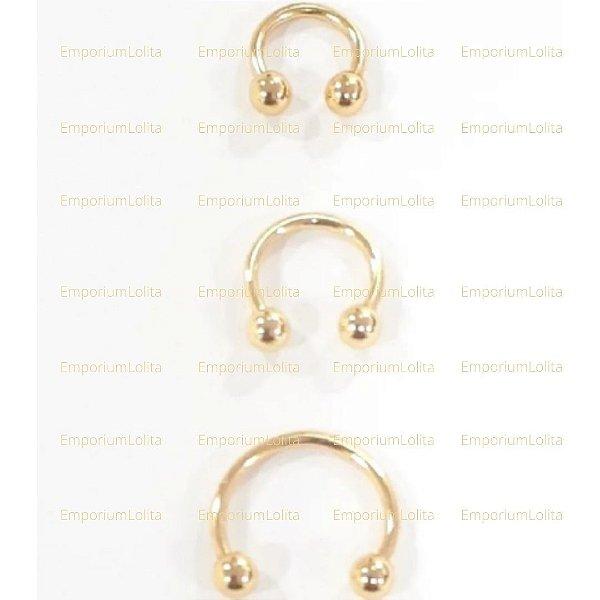 Ferradura Septo/Orelha 1.2mm X 6/8/10mm Dourado 3 Piercing's