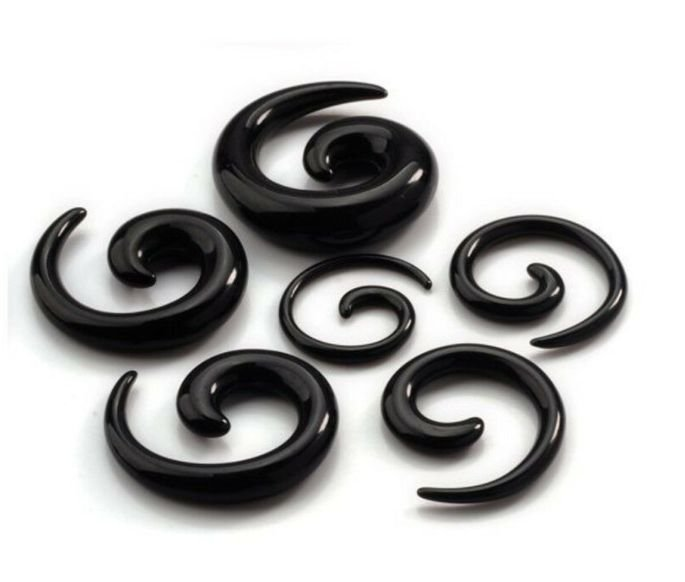 Alargador Espiral Caracol Preto Acrílico Hiphop Gótico Expansor para Orelha 8mm