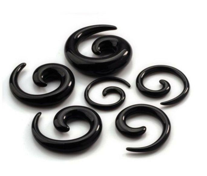 Alargador Espiral Caracol Preto Acrílico Hiphop Gótico Expansor para Orelha 14mm