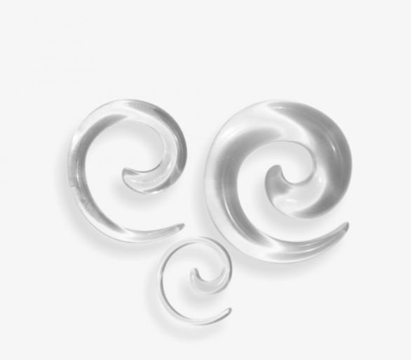 Alargador Espiral Caracol Preto Acrílico Hiphop Gótico Expansor para Orelha Acrílico 4mm