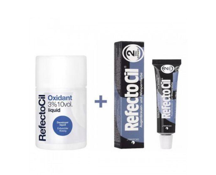Kit Refectocil 1 Tinta + 1 Oxidante Pigmento de Cílios e Sobrancelha