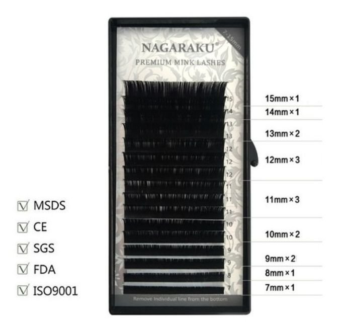 Cílios Nagaraku Premium Mix (7a15mm) - Curvatura D - Volume Russo e Fio A Fio - 0.20D