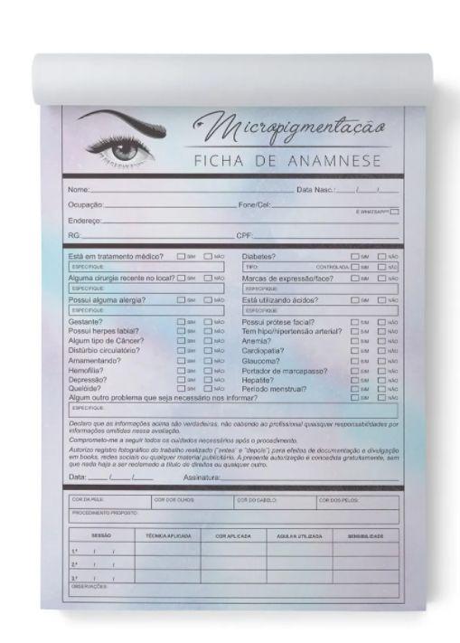 Bloco Ficha De Anamnese Micropigmentação, Micropigmentadora