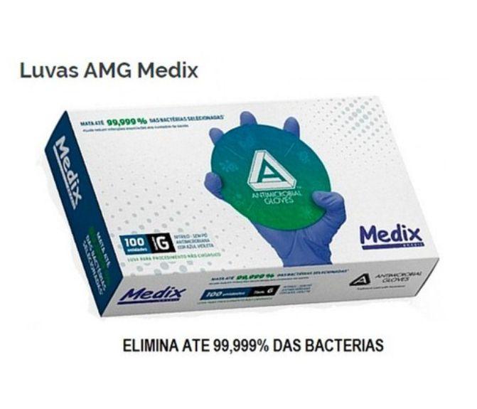 Luva Nitrílica Antimicrobiana Profissional Proteção Caixa Super Resistente Sem Pó C 100 unidades